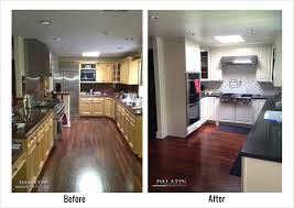 Before And After Kitchen Remodels Classic Style Remodel Into Modern Design With White Cabinets Black Appliances Table U Shaped Best Idea For You
