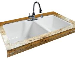extra deep high low double bowl tile edge transitional