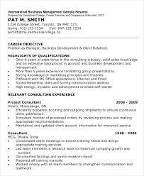 International Business Management Resume Sample