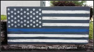 Distressed American Thin Blue Line Flag Police LEO