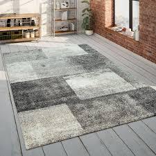kurzflor teppich wohnzimmer karos beige braun teppich