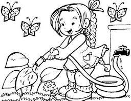 Little Girl Watering Flower On Garden Coloring Page