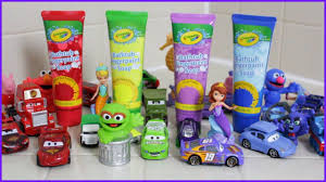 learning colors crayola bathtub fingerpaint soap disney toys