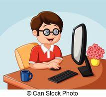 Cute student boy working with puter vector clipart Search