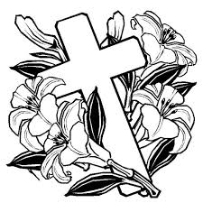 Easter Coloring Pages Cross With Flowers
