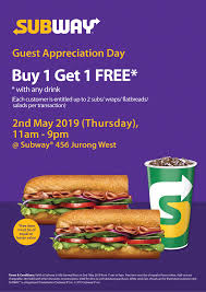 Subway Singapore Guest Appreciation Day Buy 1 Get 1 FREE Promotion 2 ... Subway Singapore Guest Appreciation Day Buy 1 Get Free Promotion 2 Coupon Print Whosale Coupons Metro Sushi Deals San Diego Coupons On Phone Online Sale Dominos 1for1 Pizza And Other Promotions Aug 2019 Subway Usa Banners May 25 Off Quip Coupon Codes Top August Deals Redskins Joann Fabrics Text Canada December 2018 Michaels Naimo Deal Hungry Jacks Vouchers Valid Until Frugal Feeds Free 6 Sub With 30oz Drink Purchase Sign Up For