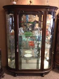 victorian oak curved glass china cabinet with mirrored bottom and