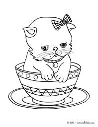 Kitten In Cup Coloring Page