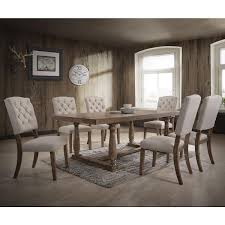 Gunnison Co Duke 7 Piece Dining Set In White Oak And Linen