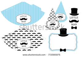 Little man s printable hats Black and white mustache pattern Print and cut Blue