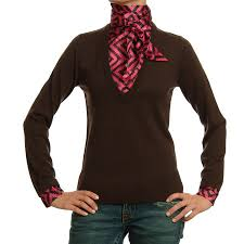 This Chocolate Brown Cashmere Sweater With Berry Hued Basketweave