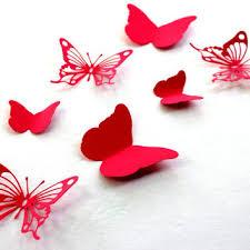 Red Butterfly Wall Art Paper Butterflies 3d Arts Baby Shower Wedding