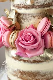 Pretty Pink Roses On A And Gold Naked Cake By Juniper Cakery