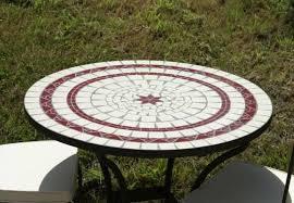 table ronde mosaique fer forge table jardin mosaique ronde 130cm céramique blanche 2 lignes et