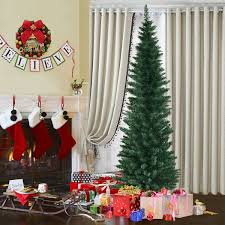 Costway 6Ft PVC Artificial Pencil Christmas Tree Slim W Stand Home Holiday Decor Green 0