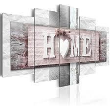 decomonkey bilder home haus 200x100 cm 5 teilig leinwandbilder bild auf leinwand wandbild kunstdruck wanddeko wand wohnzimmer wanddekoration deko