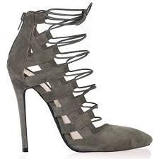kalia khaki faux suede pointed lace up heel public desire