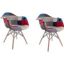 n a 2er set esszimmerstühle küchenstuhl wohnzimmerstuhl design stuhl mit rückenlehne leinen massivholz patchwork mehrfarbig freizeitsesseln aus stoff