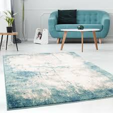 teppich vintage look flachflor modern meliert pastell blau creme wohnzimmer