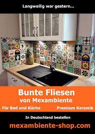 bunte fliesen für die küche warme farben und motive aus der