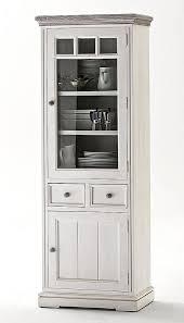 vitrine 73x200x45cm 1 glastür 1 holztür rechts 2 schubladen recycling kiefer massiv 2farbig weiß geschliffen casade mobila