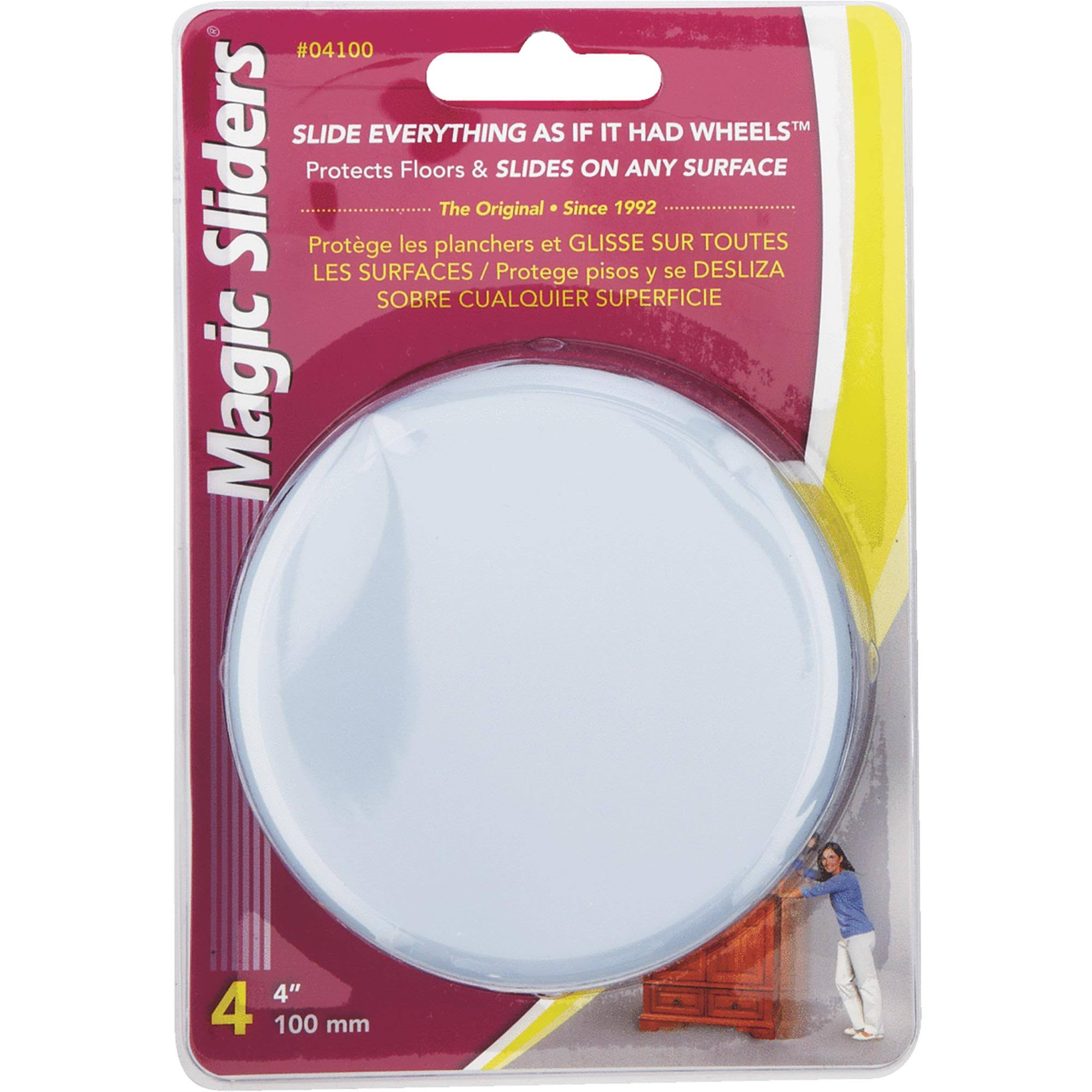 Magic Sliders Round Magic Sliding Casters - Self-Adhesive, Card of 4, 100mm