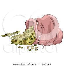 Clipart Of A Spilled Bag Beans