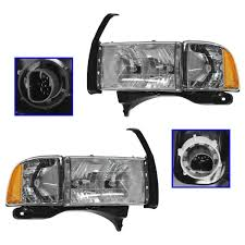 100 Ram Light Truck Parts Headlights Headlamps WCorner Pair Set For 9902 Sport