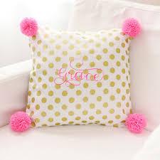 Gold Polka Dot Pillow Pink Nursery Pillow