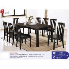 Fully Solid Wood 1 Dining Table + 8 Dining Chairs Set Dark Brown Color