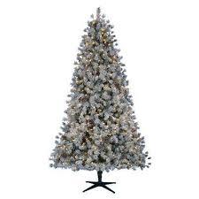 Pre Lit LED Flocked Lexington Pine Artificial Christmas Tree With 500 Warm
