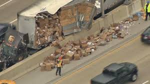 UPS Truck Crash Causes Package Pileup - NBC Southern California