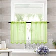 miulee 2er set küchenvorhang transparente stangedurchzug spitzenvorhang freihanddeko aus transparentem voile deko einfarbige gardinen dekoschals