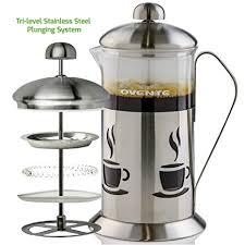 Ovente French Press Cafetiere Coffee And Tea Maker High Grade Stainless Steel Nickel