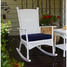 Tortuga Outdoor Portside Classic Outdoor Rocking Chair White Wicker With  Blue Cushion