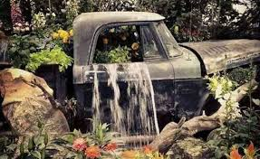 Flower Bed Truck With Water Fall 76 Backyard And Garden Waterfall Ideas Features Rust