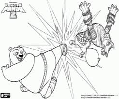 Kung Fu Panda Po Against The Wolf Coloring Page Printable Game