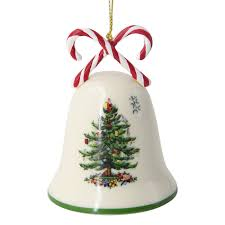 Spode Christmas Tree Candy Cane Bell Ornament