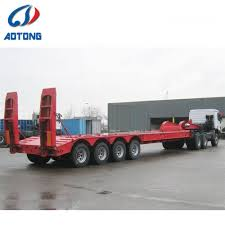 100 Truck Axles China 4 80t100t Low Flat BedLowboy Semi Trailer