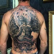 Progress Fallen Angel Back Tattoo Tattooer Lostcitytattoostudio Black