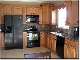 Elegant Modern Kitchen With Black Appliances Oak Cabinets Smart Home