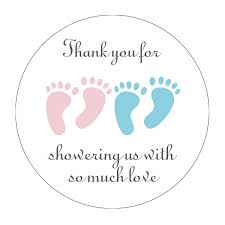 MAGJUCHE Blue And Pink Its Twins Thank You For Coming Baby Shower Stickers Girl And Boy Little Feet Party Favor Stickers 2 Inch 40Pack