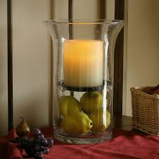 wilshire fillable hurricane with flameless candle seeded glass