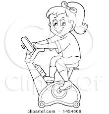 Clipart Of A Black And White Lineart Girl Riding An Upright Spin