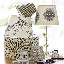 After Photo Of Plain White Lamp Shades Which Have Been Recovered In Fabric