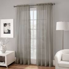 Bed Bath And Beyond Curtains Draperies by Buy Sheer Grey Window Panels From Bed Bath U0026 Beyond