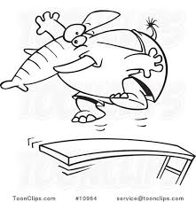 Cartoon Black And White Line Drawing Of An Elephant Jumping On A Diving Board 10964 By Ron Leishman