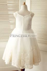 cap sleeves champagne lace ivory tulle wedding flower girl dress
