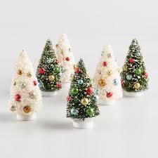 3 Pack Retro Bottlebrush Tree Decor Set Of