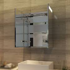 spiegelschrank mit beleuchtung 60 x 70 cm infrarot sensorschalter badezimmerspiegel 2 türig badschrank mit rasierersteckdose